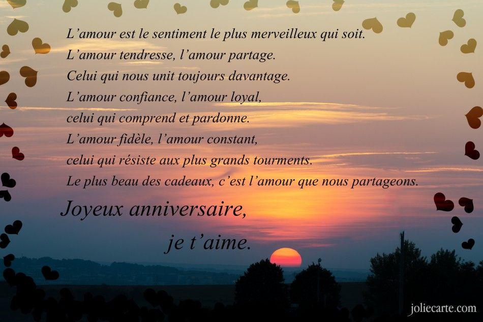 message joyeux anniversaire amour