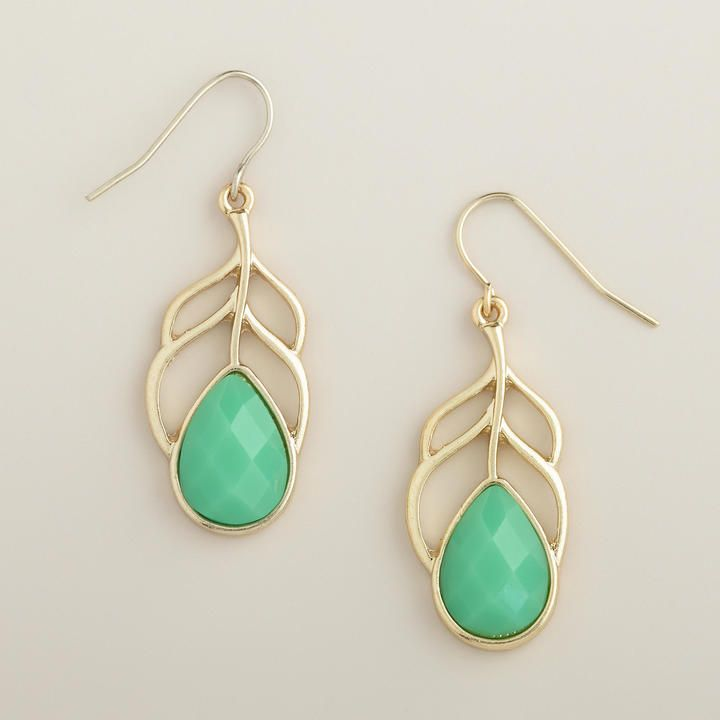Gold and Mint Leaf Drop Earrings