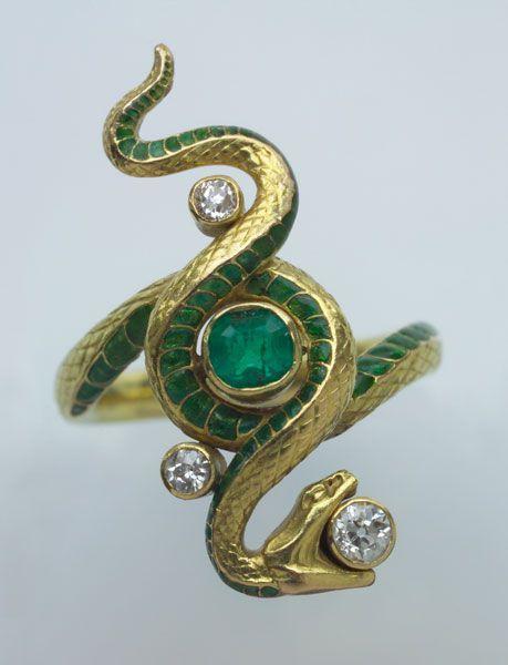 Paul Briancon - Art Nouveau Snake Ring Gold Enamel Emerald Diamond, French c…