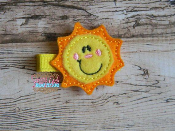 Yellow Sun, Sunshine, Summer, Beach, Summertime, Sunny Girls/Baby Felt Embroidered Feltie Clip/No Slip Grip