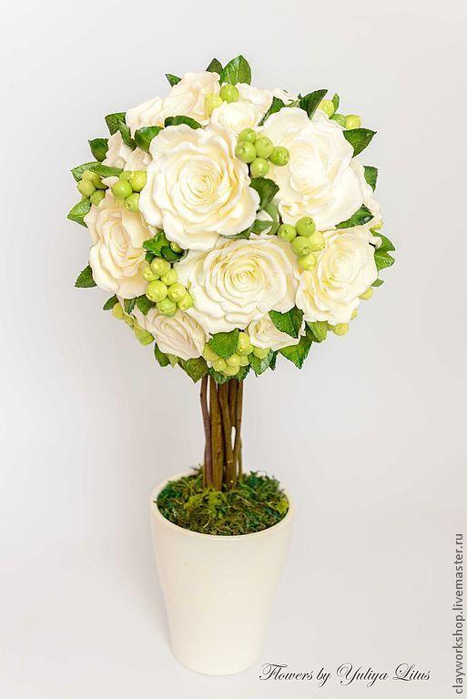 Купить Цветы из полимерной глины. Топиарий - подарок для мамы, сувенир, сувениры и подарки, для интерьера