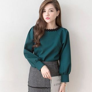Buy Tokyo Fashion Long-Sleeve Lace Trim Blouse at YesStyle.com! Quality products at remarkable prices. FREE WORLDWIDE SHIPPING on orders over US$ 35.