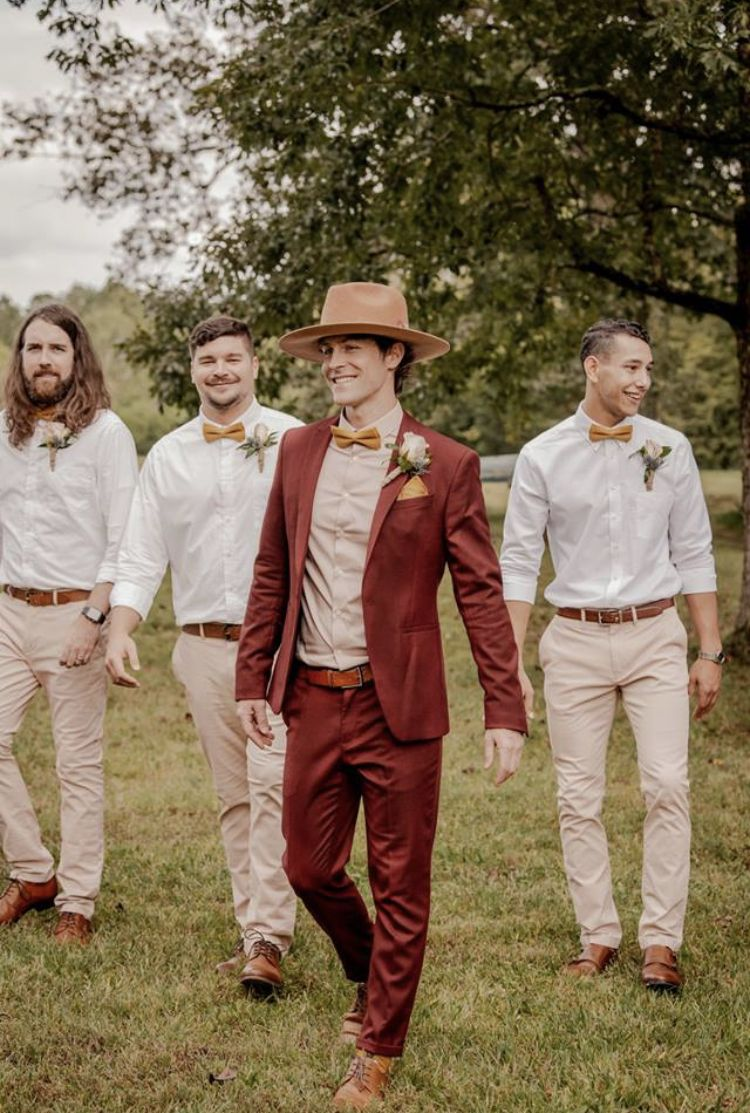 Groomsmen And Groom Rust Suit Fedora Wedding Rustic Wedding Suit Rustic Wedding Groomsmen Groom Attire