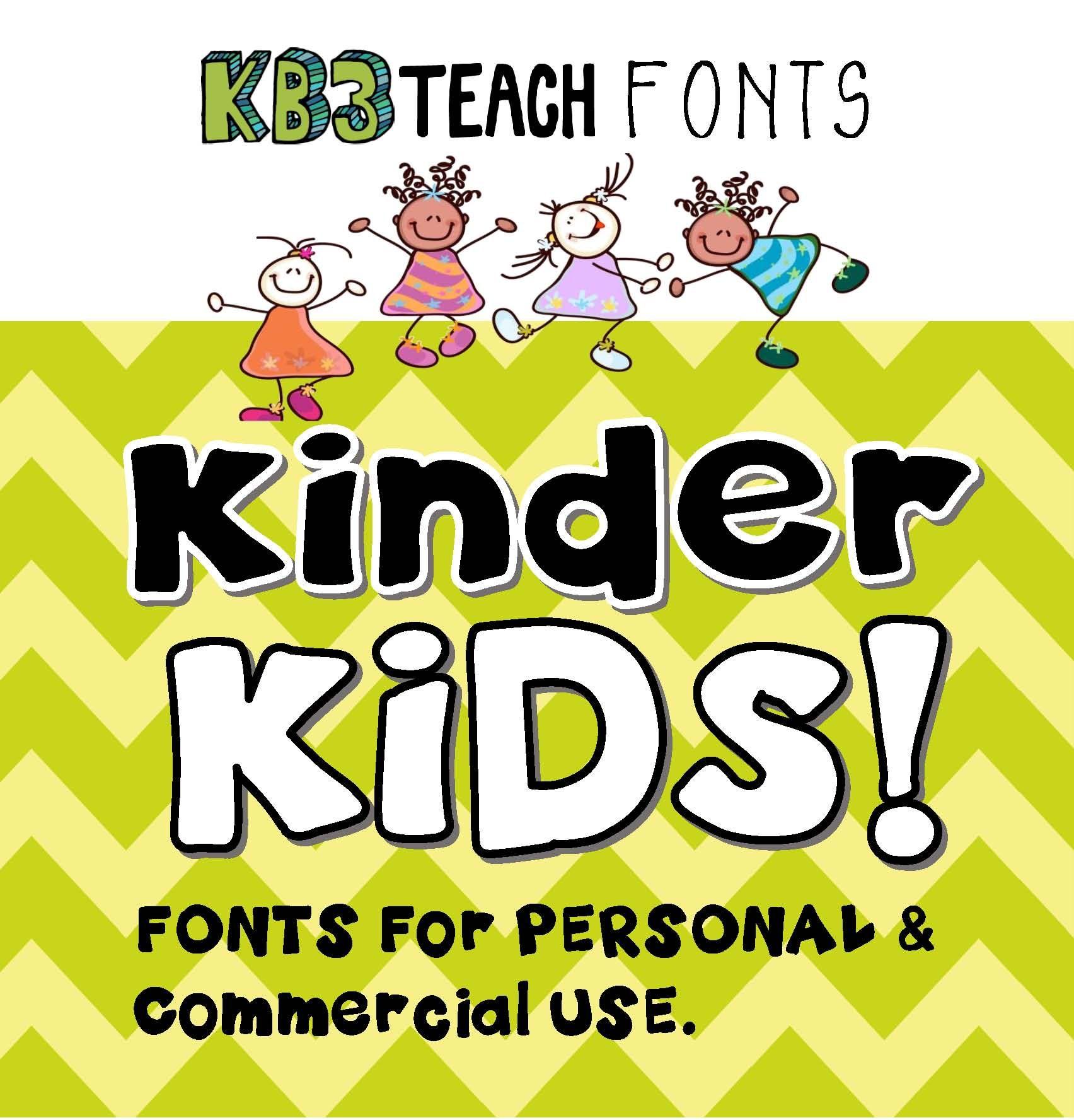 Fonts Kb3 Kinder Kids 6 Font Set Personal Amp Commercial