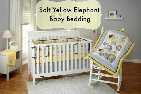 Yellow Elephant Crib Bedding, Yellow Gray Crib Bedding