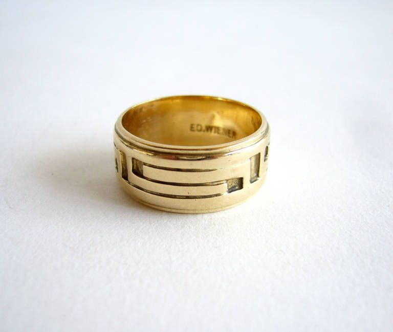 Ed Wiener Modernist Gold Ring | From a unique collection of vintage engagement rings at https://www.1stdibs.com/jewelry/rings/engagement-rings/