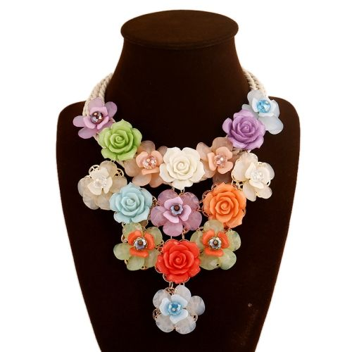 6.84  Acrylic Flowers Woven Cotton Rope Short Necklace Female Clavicle  Chain Accessories (Colour af7a3788c09d