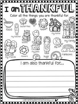 "Free Printable ""Thankful for"" Worksheet: 2 Designs"
