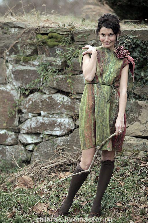"""Купить авторское платье """"Лотоса цвет"""" - единственный экземпляр, авторское платье, шерстяное платье, меланхолия"""