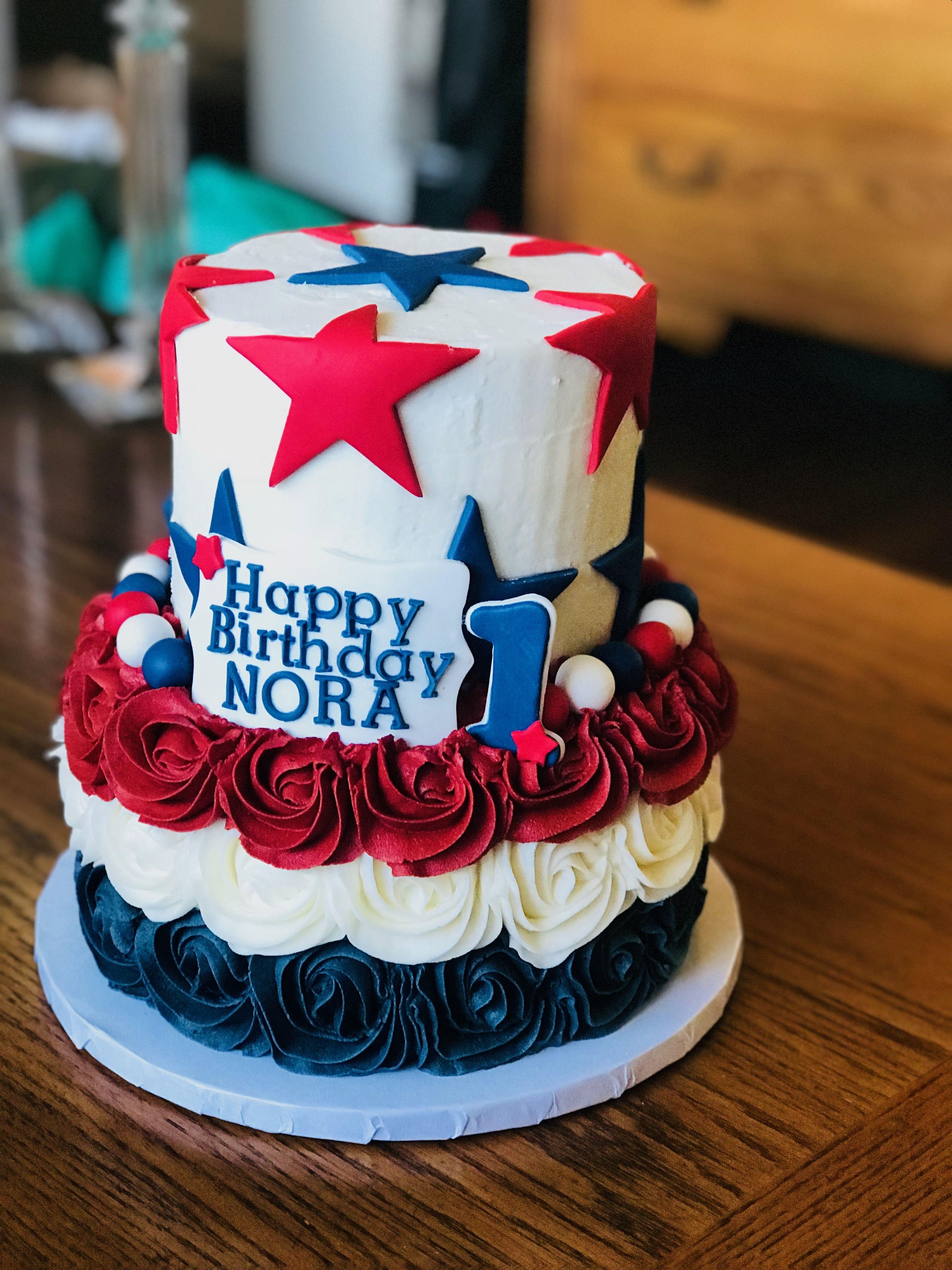 Red white &blue birthday cake   Blue birthday cakes