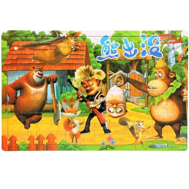 120pcs Cartoon Wooden jigsaw puzzle education toy for kid children baby montessori wooden toys