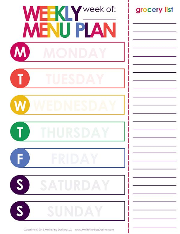 Weekly Dinner Meal Planner  Menu Planning Printable Free
