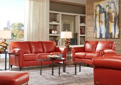 Red Leather Living Room Furniture Set How To Decorate A Small Apt Papaya Sofa Our Future House Sets Black More