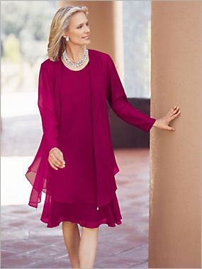 Make a memorable entrance to your next formal event with this ladies georgette jacket dress! This fluttery jacket dress is available in various sizes & colors.