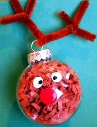 Put brown paper bag pieces, red nose, eyes and brown pipe cleaner for antlers. Rudolf!