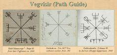 The three known manuscript versions of Vegvisir: Huld 1860AD, Galdraskræður 1940AD, and Galdrakver 19th C.