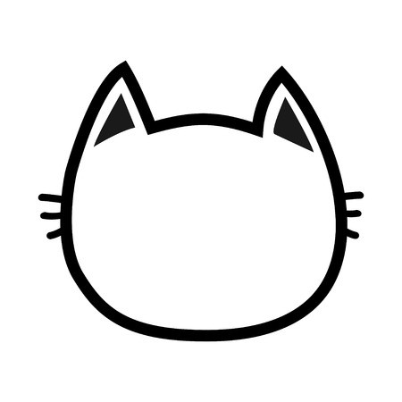 Black Cat Head Face Contour Silhouette Icon Line Pictogram Cute Funny Cartoon Character Kitty Kit Cute Funny Cartoons Funny Cartoon Characters Face Template
