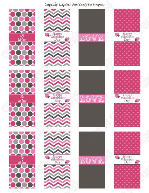 Free Printables For Mini Candy Bar Wraps More Party Printables At Link Candy Bar Wrapper Template Candy Bar Wrappers Valentines Candy Wrappers