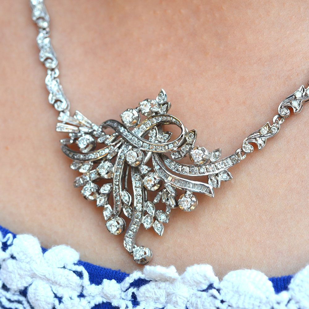 Vintage karat white gold ctw diamond necklace with round