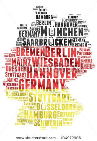 GERMANY map words cloud of major cities with a white background ...