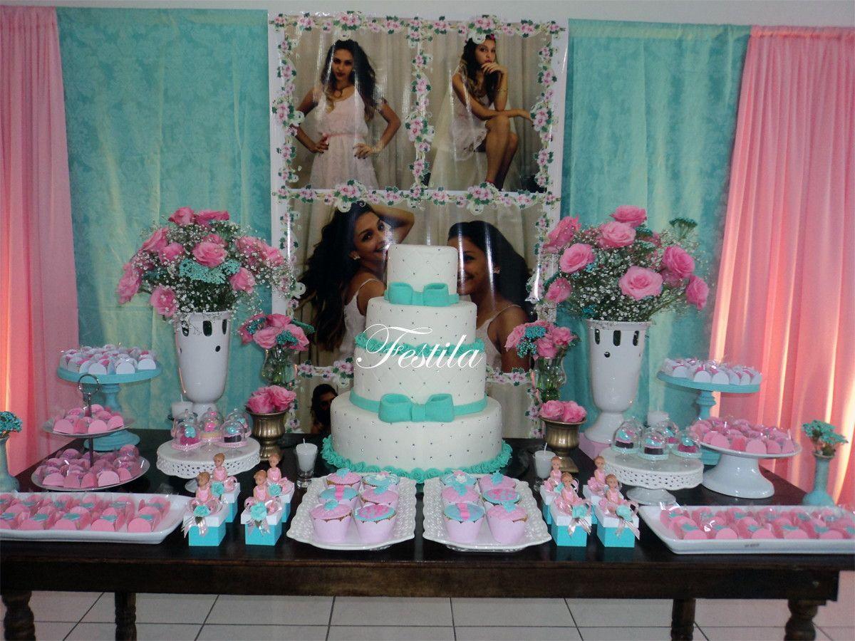 Decoração Festa 15 anos Rosa e Tiffany | Festila | Elo7