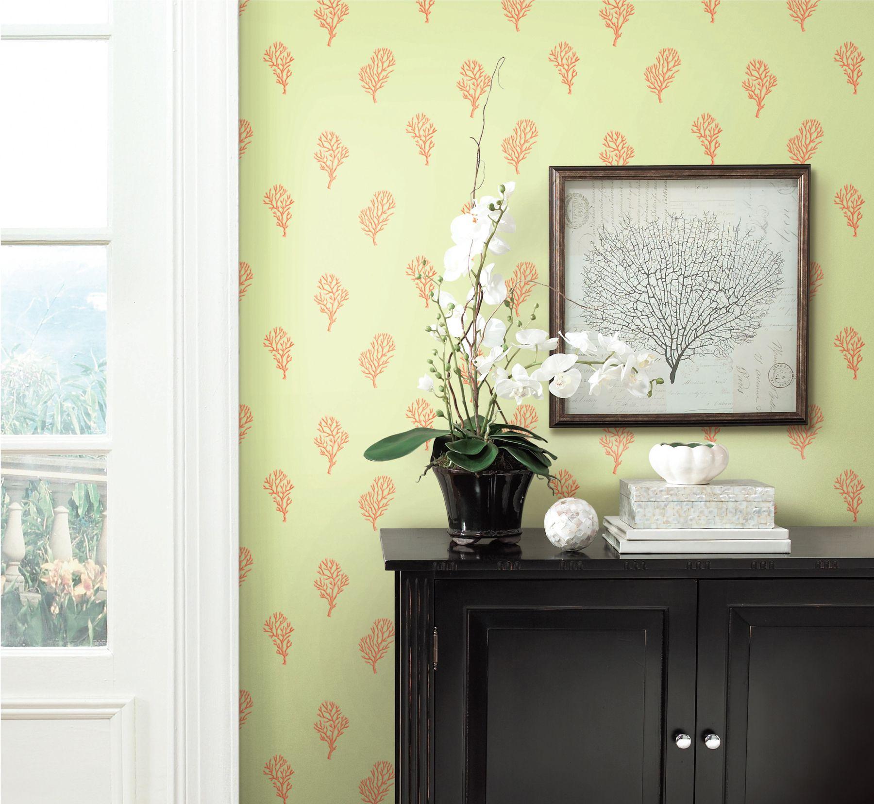 Islamorada Green Coral Branch Wallpaper Pattern DLR54664