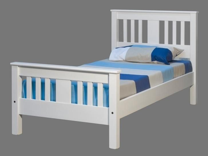 wentworth white single slat bed frame - bed shop online $639