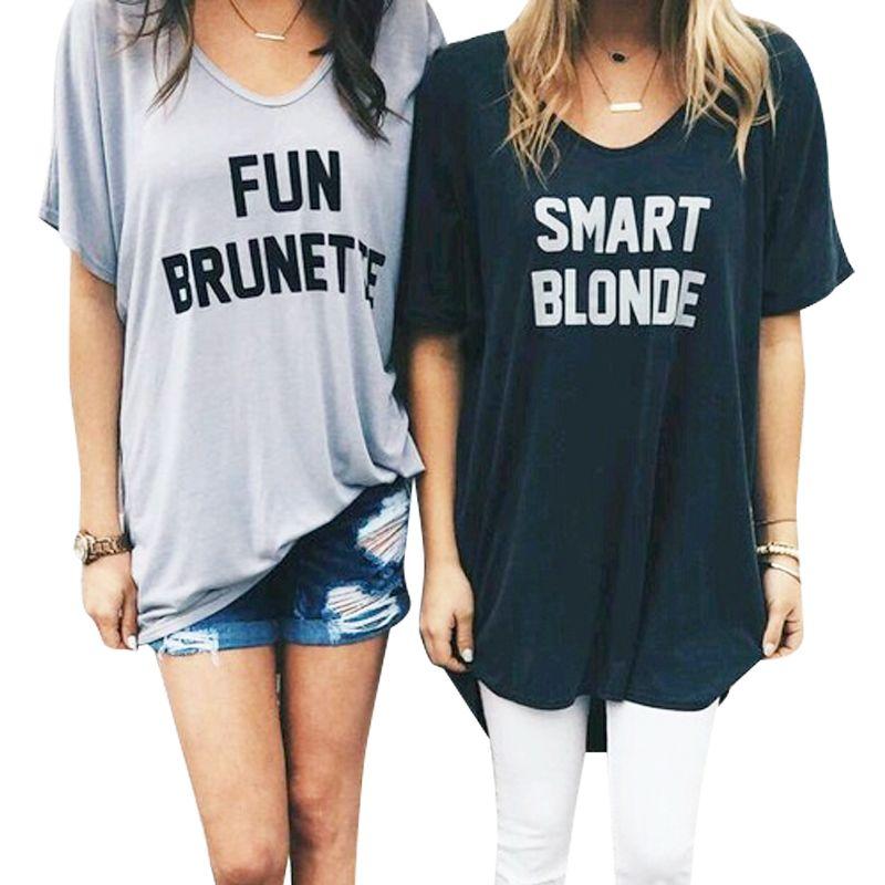 d33f0e8b86f Fun Brunette Smart Blonde Printed BBF Best Friend T Shirt Women Short  Sleeve Loose Shirt Funny Graphic Tee Designer Summer Top-in T-Shirts from  Women's ...
