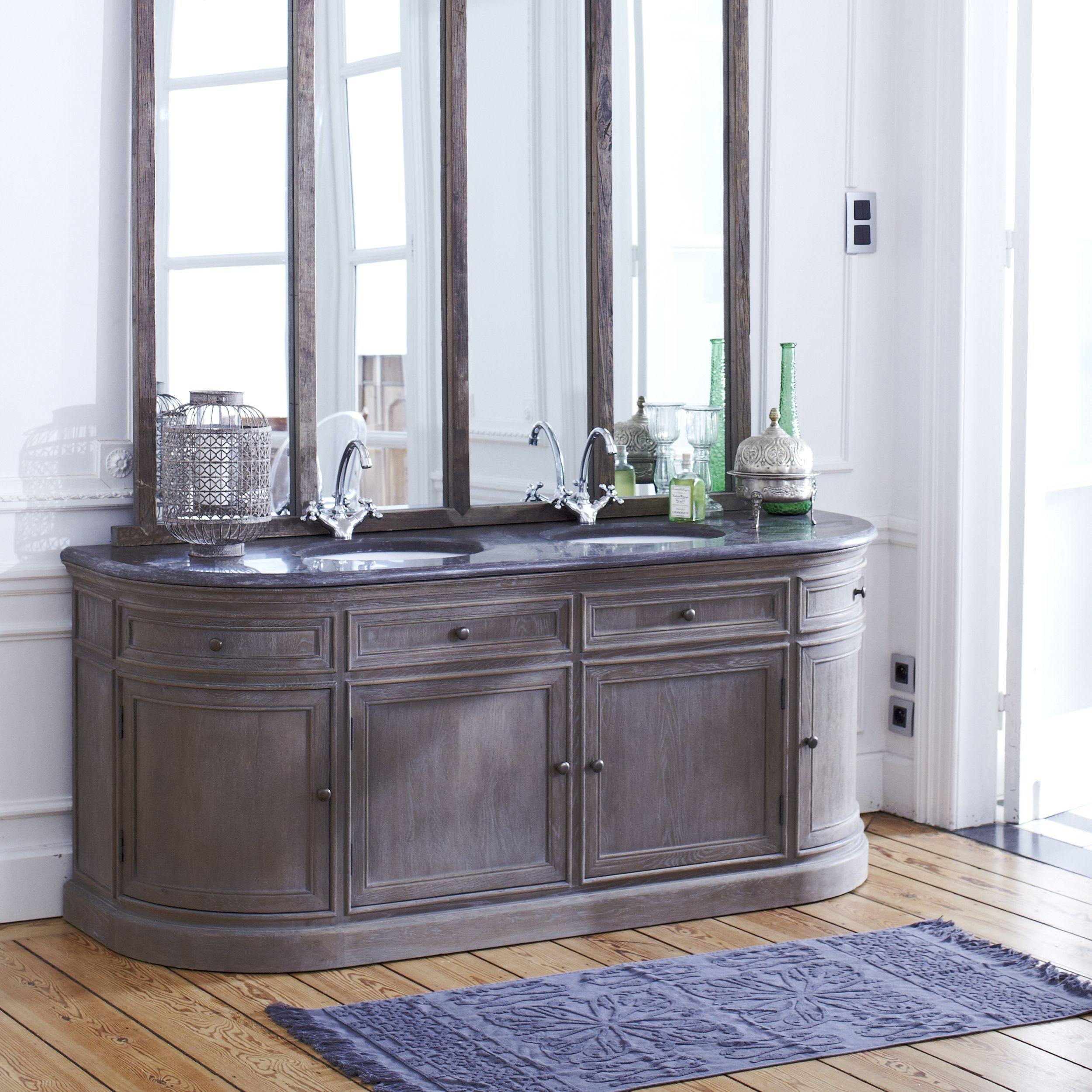 Elegance Et Raffinement Avec Le Meuble De Salle De Bain En Chene Louise Tikamoon Tikamoon Vanity Units Bathroom Units