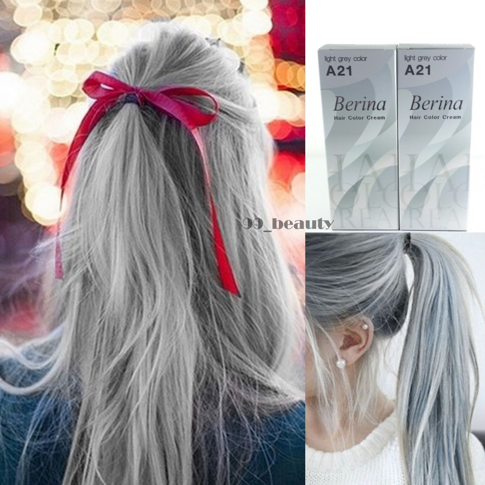 Berina A21 2 Boxes Light Grey Silver Permanent Hair Dye