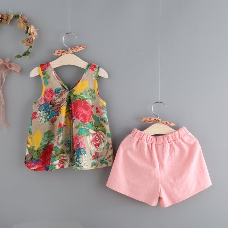 Summer Toddler Baby Girls Sleeveless Floral Print Vest Tops+Shorts Outfits Set