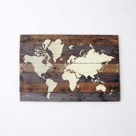 Make this painted world map on pallet wood for your home or office wall space.