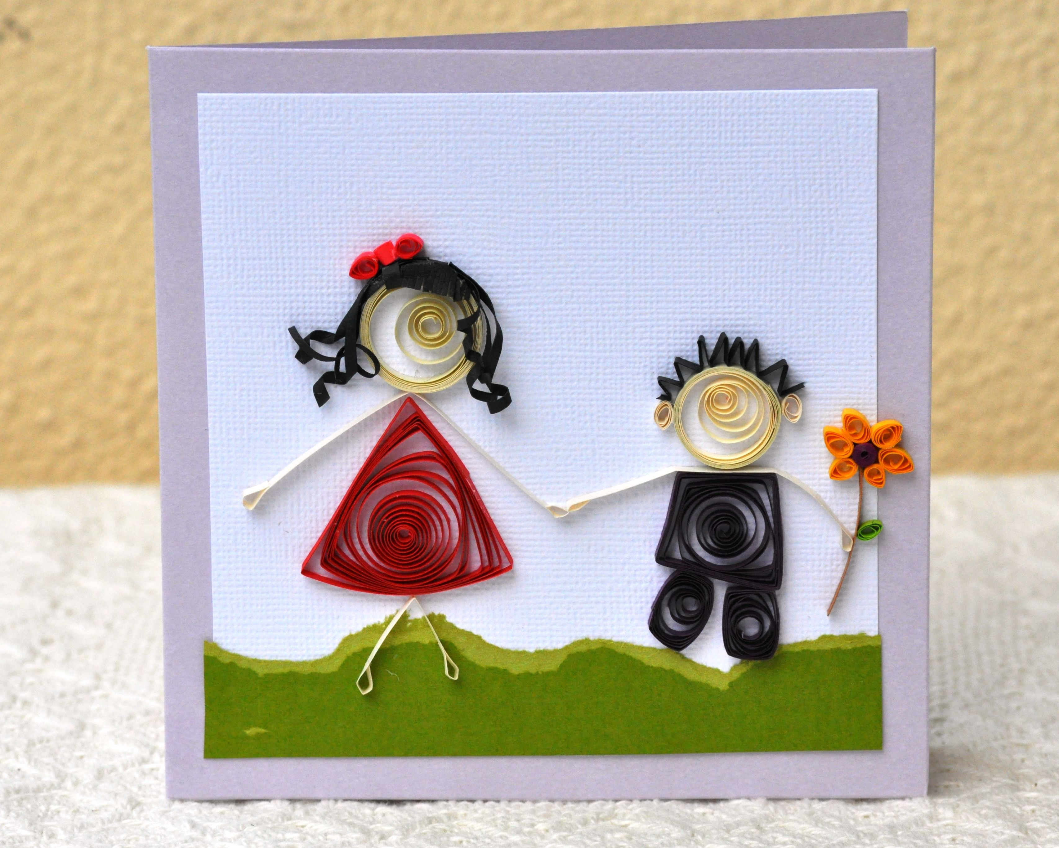 Paper Quilling Girl Boy Sister Brother Mother Son Pair
