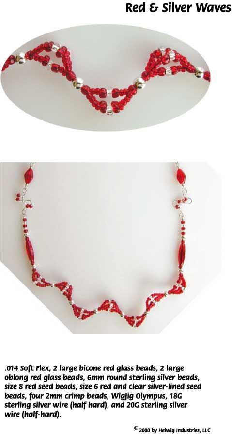 Red and Silver Waves Wire and Beads Necklace Jewelry Making ...