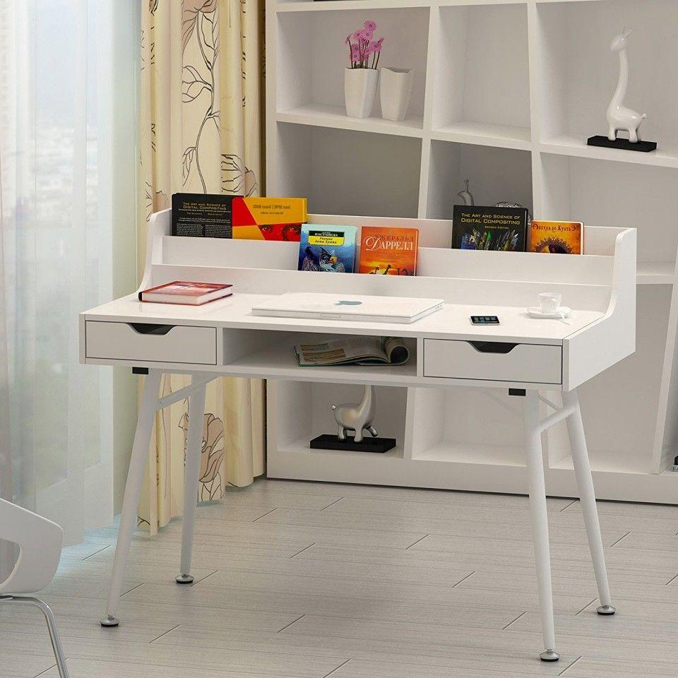 MAA104 Birou alb cu rafturi și sertare - http://www.emobili.ro/cumpara/maa104-masa-alba-toaleta-cosmetica-machiaj-masuta-vanity-birou-modern-793 #eMobili