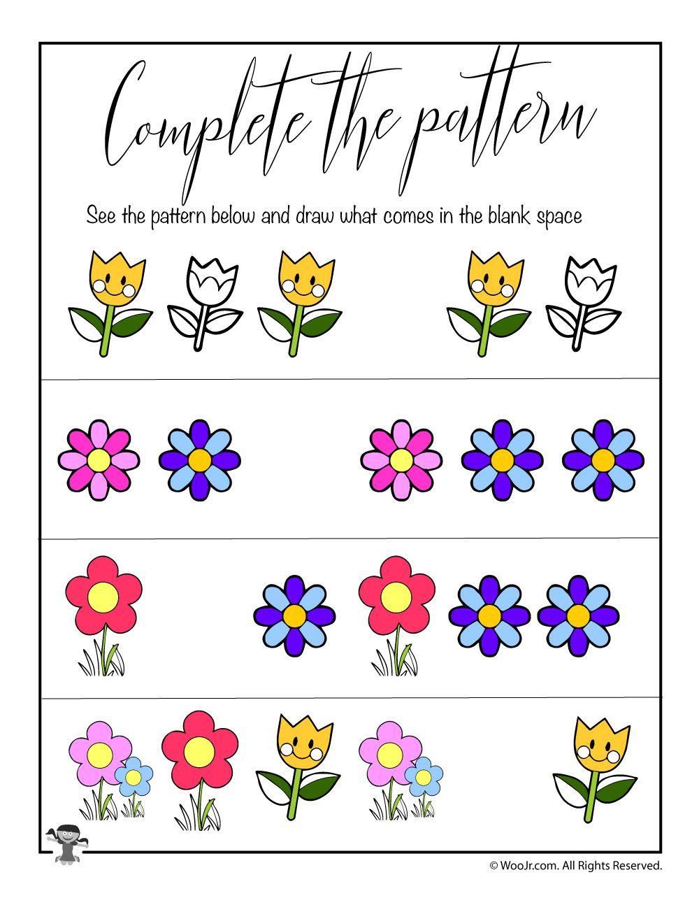Spring Complete the Pattern Worksheet Woo! Jr. Kids