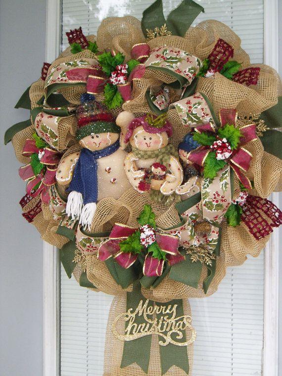 Christmas Wreath Deco Mesh Wreath Gingerbread Mesh by AnnieOjan