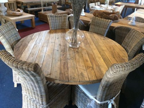 Reclaimed Teak Character Round 130cm Dining Table   Reclaimed Dining Tables    Dining Room Furniture