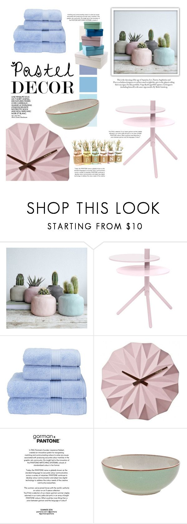 """""""Pastel Home Decor"""" by the-awesome-book-geek ❤ liked on Polyvore featuring interior, interiors, interior design, home, home decor, interior decorating, Bloomingville, Christy, Karlsson and Karl Lagerfeld"""