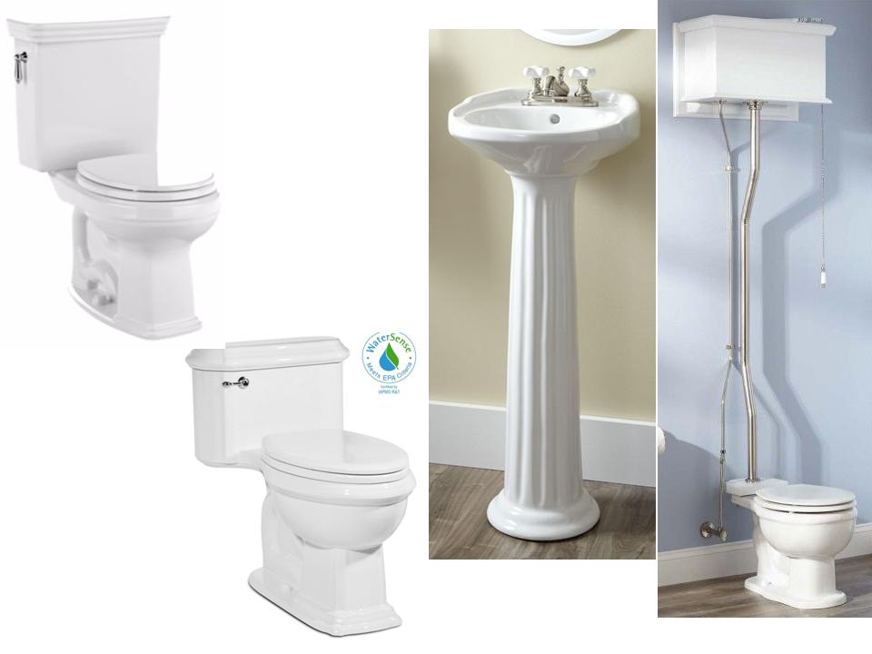 Sink   Victorian Ultra Petite Pedestal Sink; Toilet (no Order): 1   Toto  Promenade, Round Bowl, 1 Piece; 2   St. Thomas Creations Vanier, Round  Bowl, ...