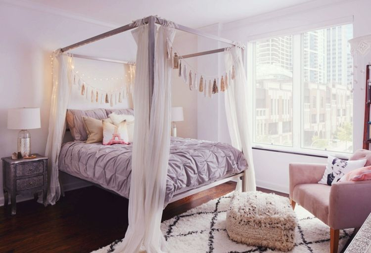 Schlafzimmer Deko im Boho Style - Romantische Einrichtung in Rosa