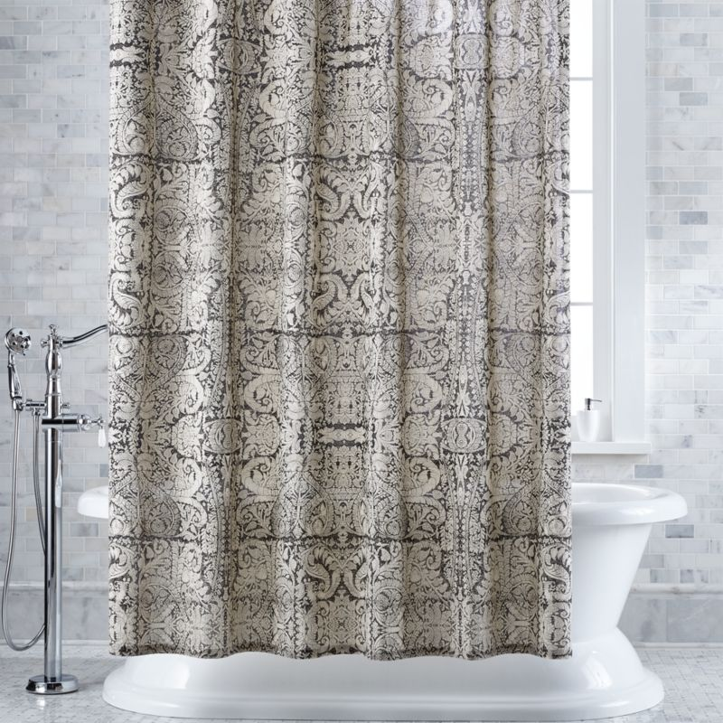 Linley Damask Charcoal Shower Curtain Crate And Barrel In 2020