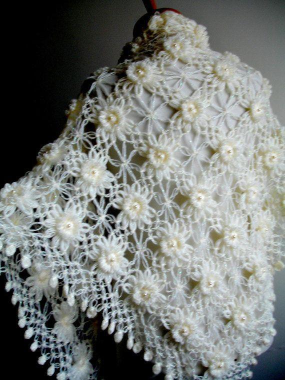 Wedding Wrap Ivory Shawl Bridal Shawl with Pearls от crochetlab