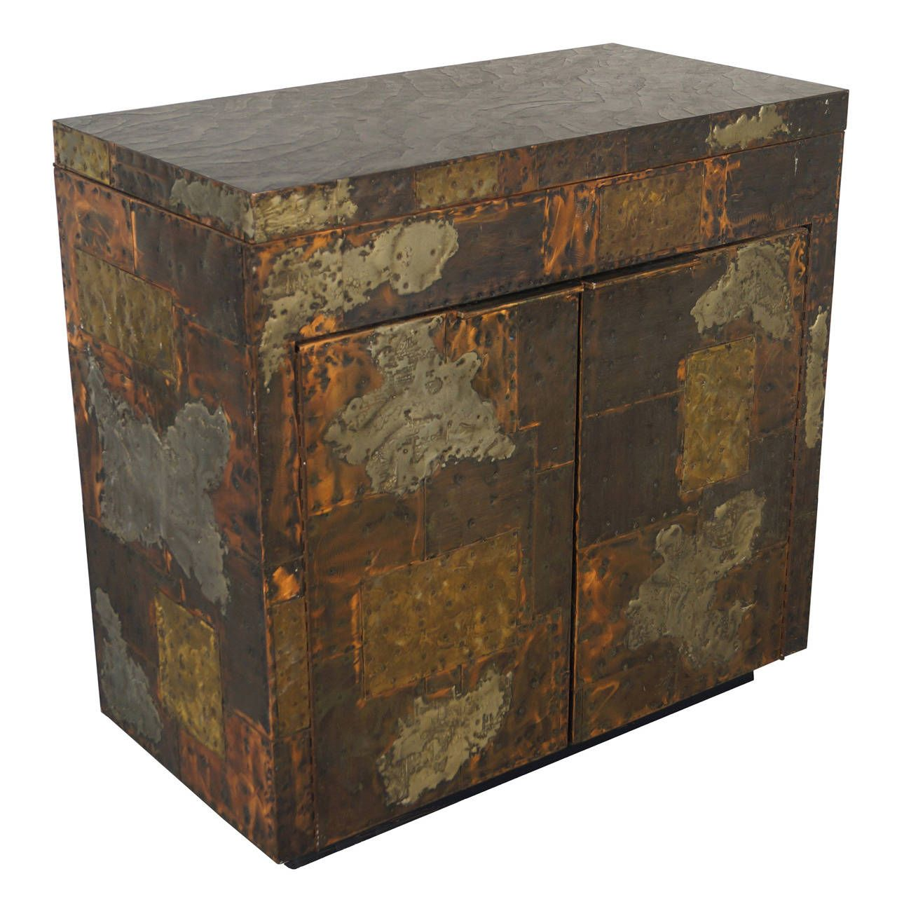 Exceptional Patchwork Flip-Top Bar Cabinet by Paul Evans | From a unique collection of antique and modern dry bars at https://www.1stdibs.com/furniture/storage-case-pieces/dry-bars/