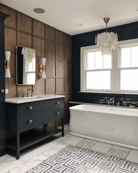 Photo of Going Bold in the Bathroom: Black Wall Molding DIY