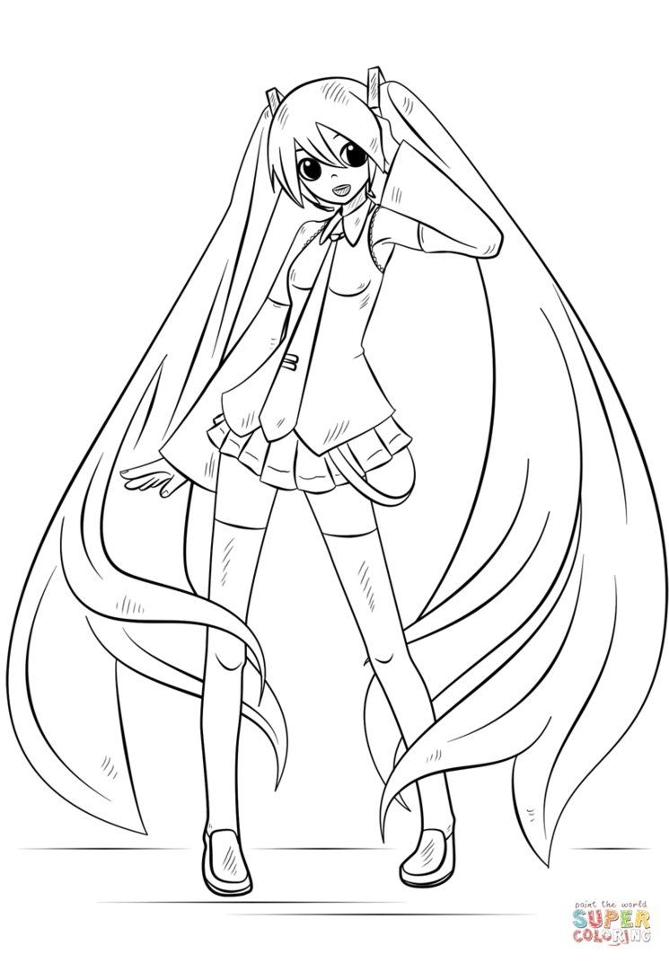Miku Hatsune Coloring Pages To Print Drawing Tutorial Anime Drawings Tutorials Hatsune Miku