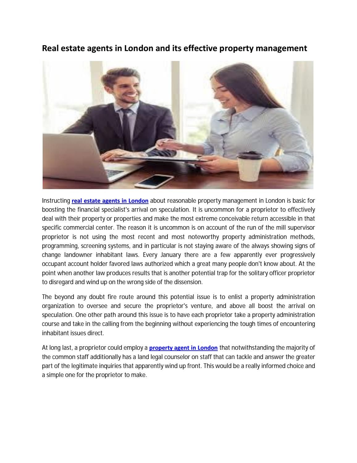 Real Estate Agents In London And Its Effective Property Management Real Estate Agent Property Management Being A Landlord