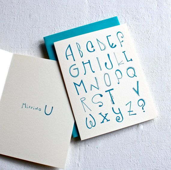 Missing U Card I Miss You Card Typographic Card Handmade