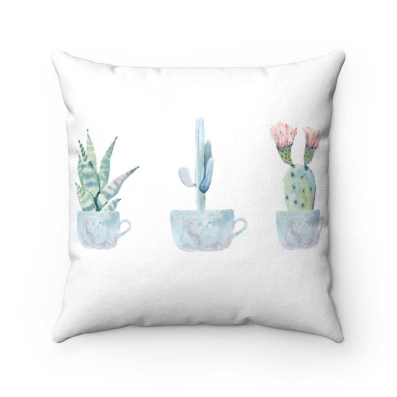 Cactus Pillow Cover Watercolor Pillow Case Succulent Throw Etsy In 2020 Succulent Throw Pillow Throw Pillow Covers 20x20 Watercolor Pillows