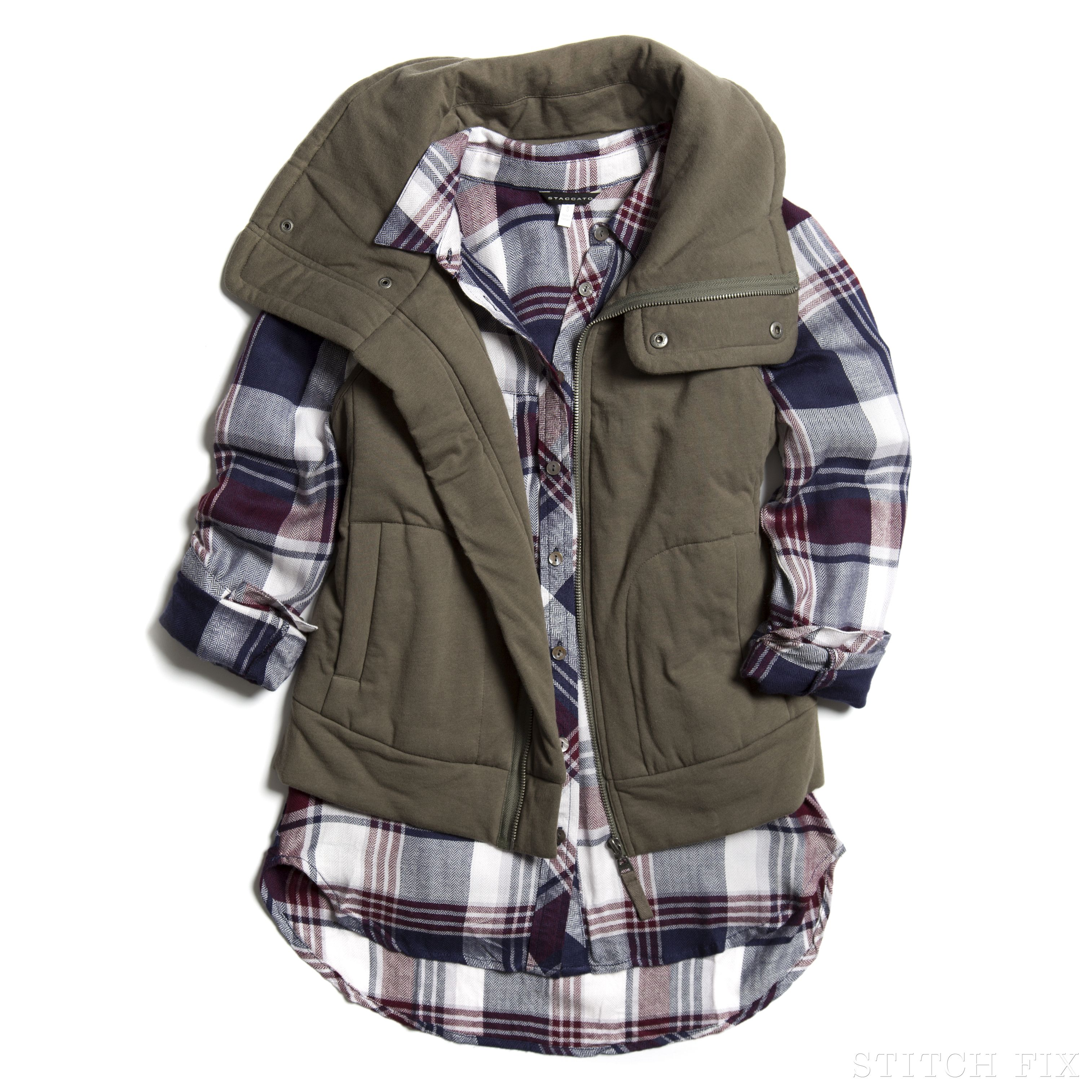Dress up flannel shirt  I love the plaid with a vest look A lot of people at work are